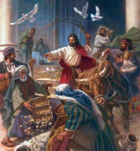 Jesus cleansing the temple of the Federal Reserve